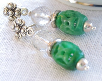 Jade Earrings Gemstone Dangle Earrings Green Jade Rock Quartz Crystal Sterling Silver Bali Bead Jade Jewelry Beaded Earrings Jewelry