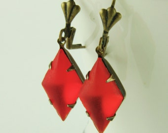 Red Vintage Jewelry Drop Earrings Vintage Glass Brass Lever Back Red Dangle Earrings Red Bridesmaid Earrings Retro Vintage Wedding Jewelry