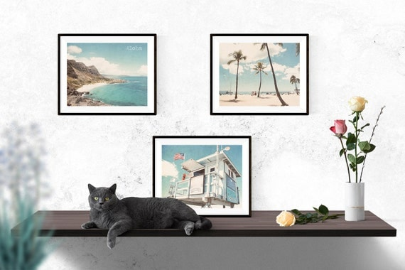 Beach photography set of 3 - Hawaii palm trees beach blue tones - home decor wall art nursery art - Set of 3 photographs - save 15%