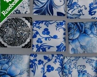 20PCS 25mm Mixed Square Flat Back Handmade Photo Glass Cabochon - Image Glass Cabochons 10030250