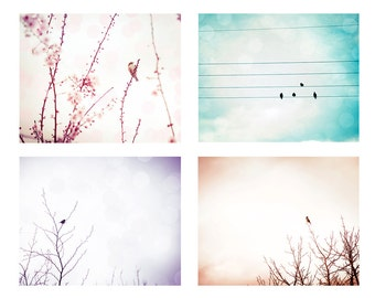 birds photography print set birds flying 8x10 12x18 fine art photography nature sky photography birds on wire birds flock pink aqua lilac