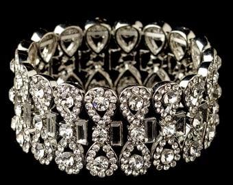 Bridal Bracelet, Stretch Crystal Bracelet, Cuff Wedding Bracelet, Bridal Jewelry, Bracelet Bride, Wide Rhinestone Bracelet Plus Size