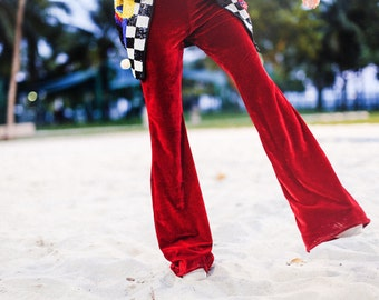 high waisted velvet stretch bell bottoms flares festival