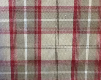 Balmoral tartan wool effect fabric in  cranberry, heather, hunter, mulberry and sage