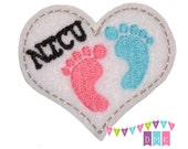 NICU Heart with Baby Feet on White Felt Embroidered Embellishment Clippie Cover SET of 4 - Multiple Sets Available - Labor and Delivery