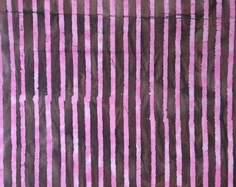 Pink and brown stripe batik fabric by the yard, 100% cotton