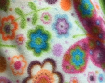 Spring Time Flower and Butterfly Print Fleece Fabric by the yard