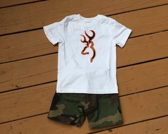 Boy's Mossy Oak Appliquéd Shirt with Shorts