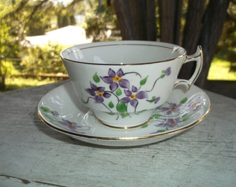 SALE 25% Off Vintage Woodlands Violets Flowers English Bone China Cup and Saucer England Teacup and Saucer Clearance