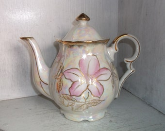Vintage NORCREST Irridescent Pink Flower & Gold Teapot Coffee Pot