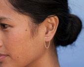 ON SALE Bar Chain Earrings, 14 Karat Bar Earrings, Staple Earrings, Gold Bar earrings.
