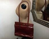 Vintage leather shoulder hand bag camel brown genuine leather purse cross body bag w shoulder strap, briefcase folio document bag, boho chic