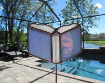 Prayer Book Stained Glass Plant Stake/Memorial Marker/Potted Plant Stake - Authentic Stained Glass