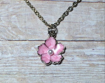 Pink Flower Necklace Stocking Stuffer Christmas Gifts Women's Necklace Mom Girlfriend Sister Flower Girl Necklace