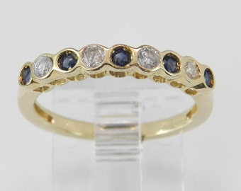 Diamond and Blue Sapphire Wedding Ring Anniversary Band Yellow Gold Size 5.25