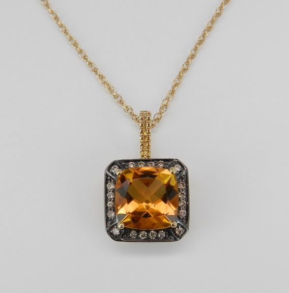 """Diamond and Cushion Cut Citrine Halo Pendant Necklace Chain 18"""" Yellow Gold"""