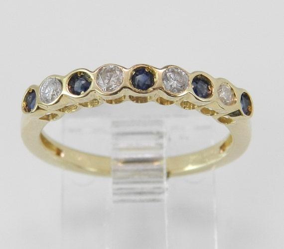 Diamond and Blue Sapphire Wedding Ring Anniversary Band Yellow Gold Size 5.25