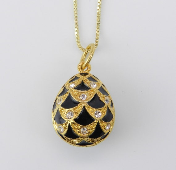 "18K Yellow Gold over Sterling Silver Black Enamel Swarovski Crystal Pendant with Chain 18"" Faberge Style Egg"