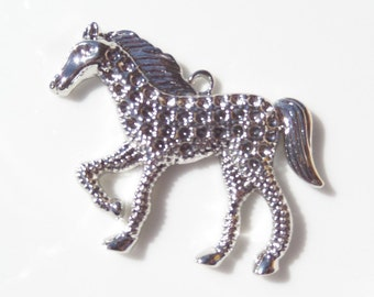1 Pendant, Horse, Silver toned, Rhinestone Pendant/Charm Base, (Y1)