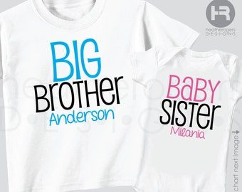 Big Brother baby Sister Set of 2 Sibling Shirts Matching Personalized Big Brother Shirt & Baby Sister Shirt or Bodysuit - 2 Sibling Shirts