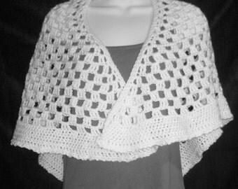 White Crochet Stole Wrap - Prayer Shawl - Bridal Shawl