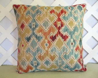 Geometric Pillow Cover / Ikat Pillow Cover in Red Orange Aqua Gold Cream / Accent Pillow / Decorative Pillow