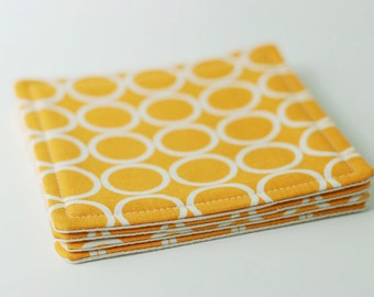 Fabric Coasters Set of 4 / White Circles on Gold Yellow