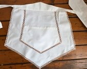 Vintage Short Apron Broiderie Anglaise German GDR Cafe White cotton  Downton Abbey, French maid apron, Servant French maid Half apron