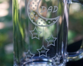 Dad Est Beer Mug - Up to 5 Stars for Children's Birth Years