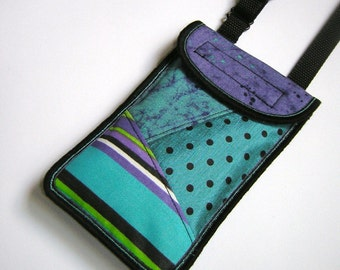 iPhone 7 Plus case Neck Pocket Smartphone Purse Crossbody cellphone Cover Small Shoulder Cute Mini Sling Bag mixed fabrics purple turquoise