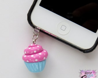 Cupcake Cell Phone Charm (Earphone Jack Plug/ Cell Phone Dust Plug/ SmartPhone Plug Charm)