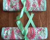 Travel Jewellery Roll or Wrap in Amy Butler Fabric from her Love collection in Paisley peppermint green