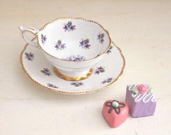 "Teacup Set Royal Stafford Vintage Fine Bone China Wide Mouth ""Sweet Violets"" Purple Flowers Gold Trim"