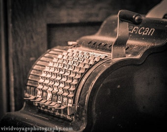 Sepia Photograph, Adding Machine, Office Decor, Bank Photo, Wall Art, Vintage Machine, Industrial Decor, Photography Print, Office Art