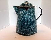 Chrysolite Graniteware Coffee Pot / Rare 1885 Dark Green and White Swirl Coffee Pot