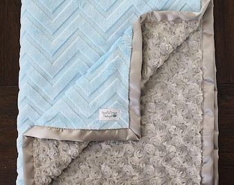 Minky Blanket, Baby Boy, Grey and blue, baby blue blanket, embossed chevron blanket, Soft blanket, Plush minky blanket, cute blanket