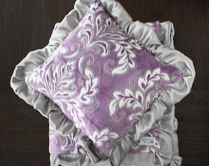 Nursery pillow, minky pillow, ruffle pillow, personalized pillow, pillow with name, baby pillow, nursery chair pillow, purple pillow, purple