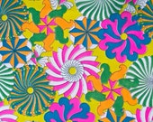 60s Psychedelic Fabric  - Spandex Fabric Pinwheel Print in Neon Colours - Acid Yellow, Hot Pink, Orange - Vintage Fabric