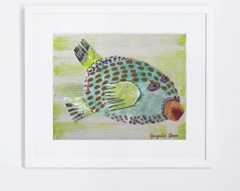 Fun Lime Green Fish Art, Mixed Media, Whimsical, Modern Art Print