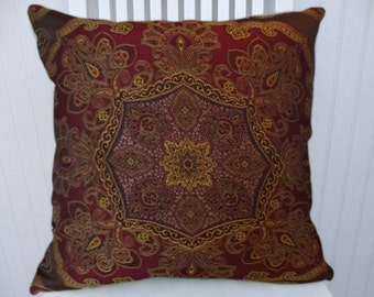 Red Gold Chenille Pillow Cover- Decorative Throw Pillow 18x18 or 20x20 or 22x22- Accent Pillow Cover,Throw Pillow Cover