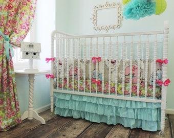 Aqua Ruffled Crib Skirt, Aqua Tiered Crib Skirt, SKIRT ONLY