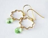 Peridot Earrings, Gift for Her, Birthday Jewelry, Gold Dangle Earrings, February Birthstone