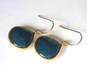 Dark Teal Earrings, Gift for Her, Modern Jewelry, Unique Dangle Earrings