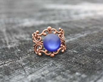 SALE Royal Blue Bronze Filigree Ring