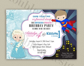 Princess and Superhero Printable Birthday Party Invitation with Color Options