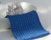 Hand knitted dish cloth - wash cloth - cobalt blue