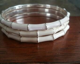 Vintage 1970's Enameled Bangle Bracelets Set of 3