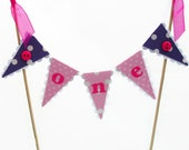Pink and Purple Girls First Birthday Cake Bunting Topper with Spots and Buttons