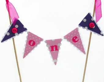 Pink & Purple Smash Cake Topper - Girls First Birthday Cake Bunting - Polka Dots and Buttons