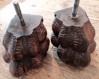 Pair of Wood Carved Lion's Feet for furniture legs